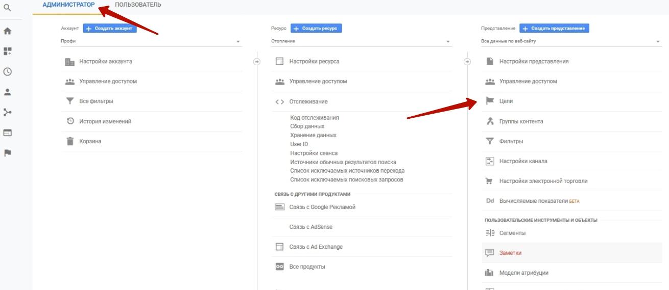 как настроить цель в гугл аналитике